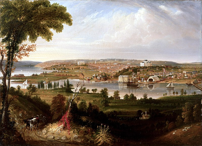 A painting of the relatively new, still rustic city of Washington.