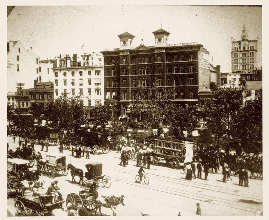 A sepia photograph of