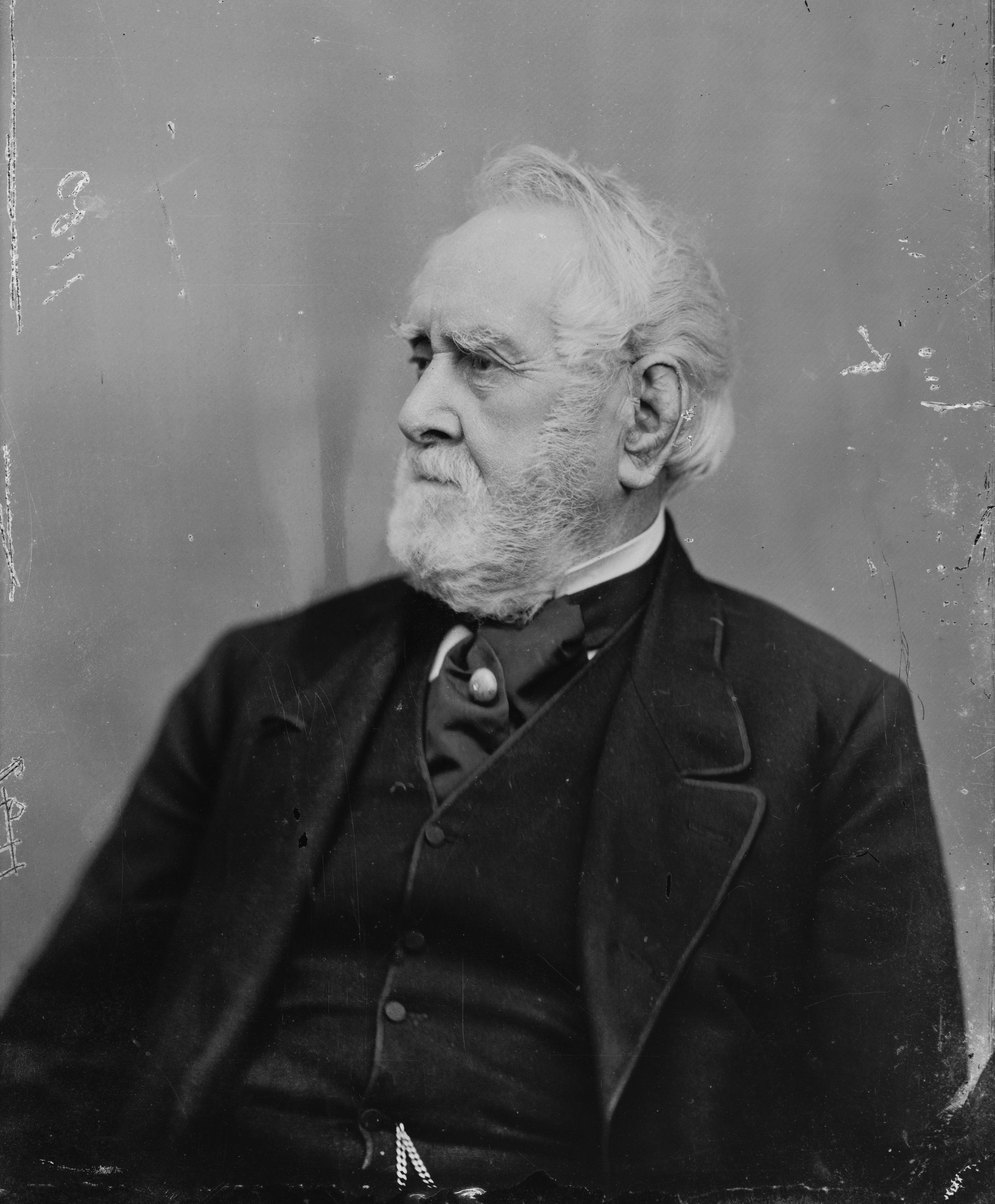 A black and white portrait of William Corcoran.
