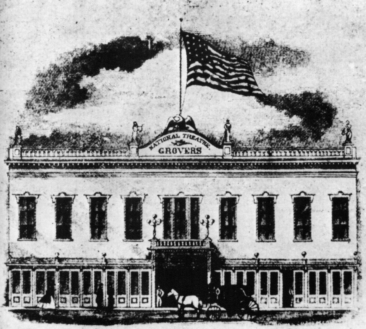 A black and white drawing of Grover's National Theatre.