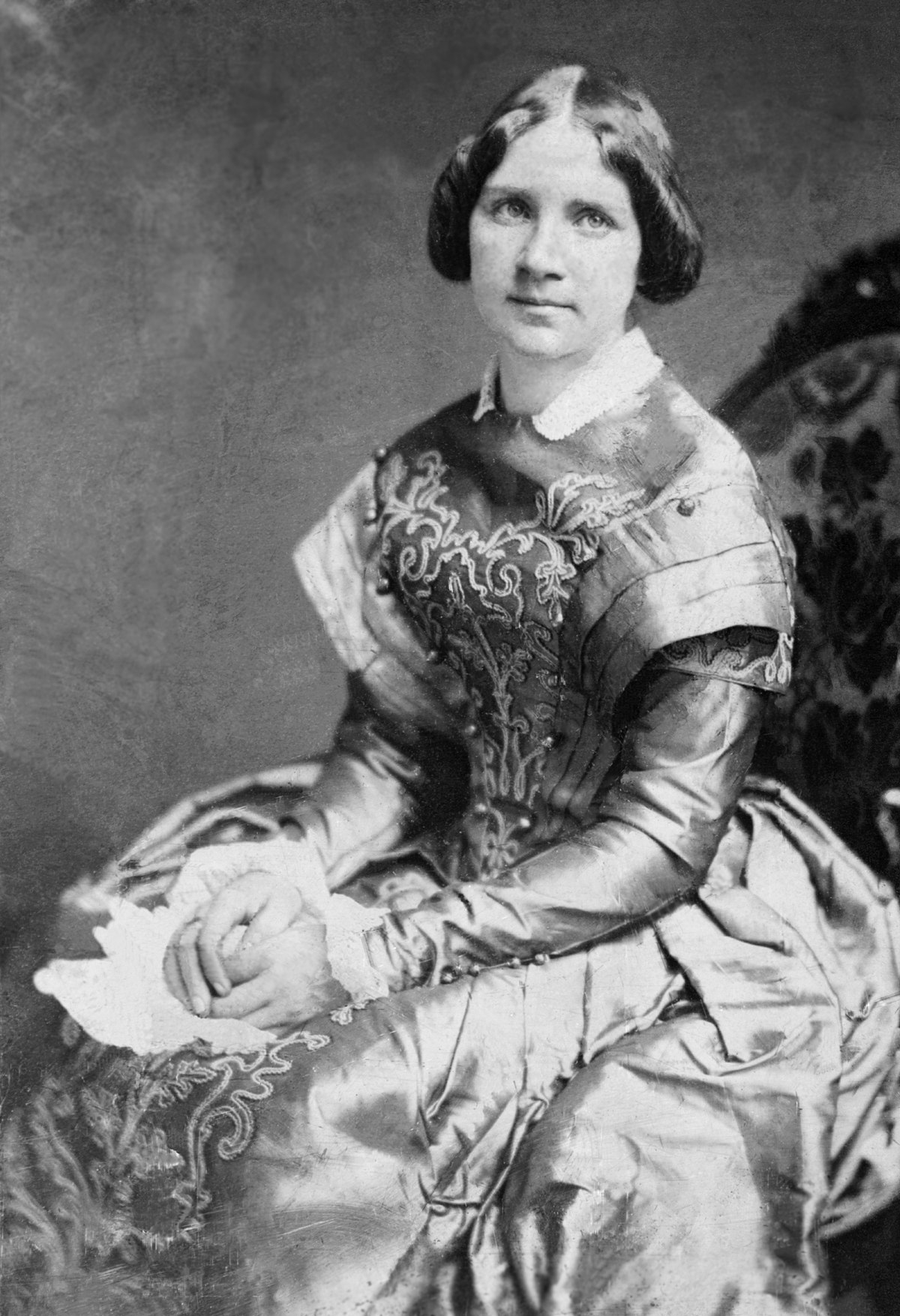 A black and white portrait of Jenny Lind.