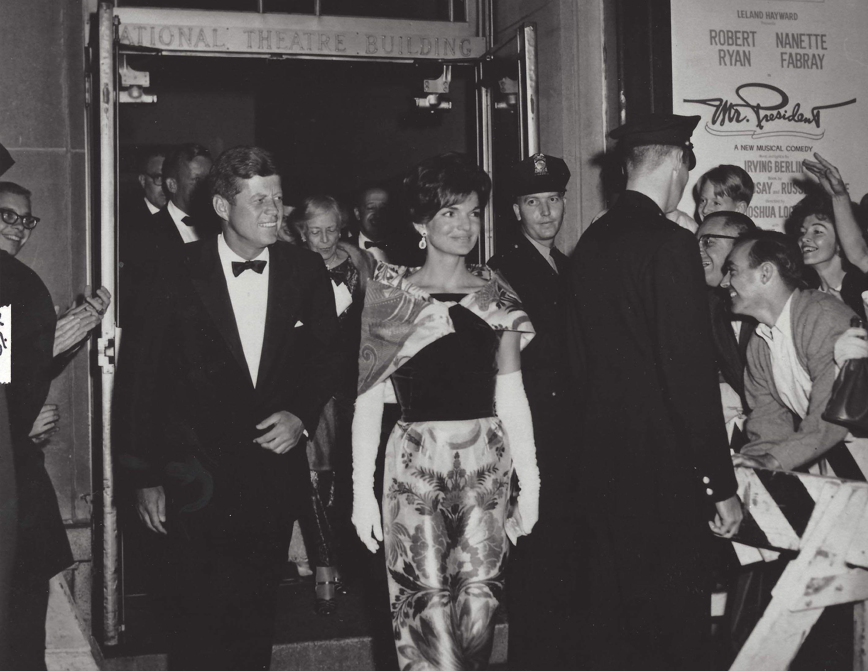 President John F. Kennedy and his wife Jacqueline leaving The National.