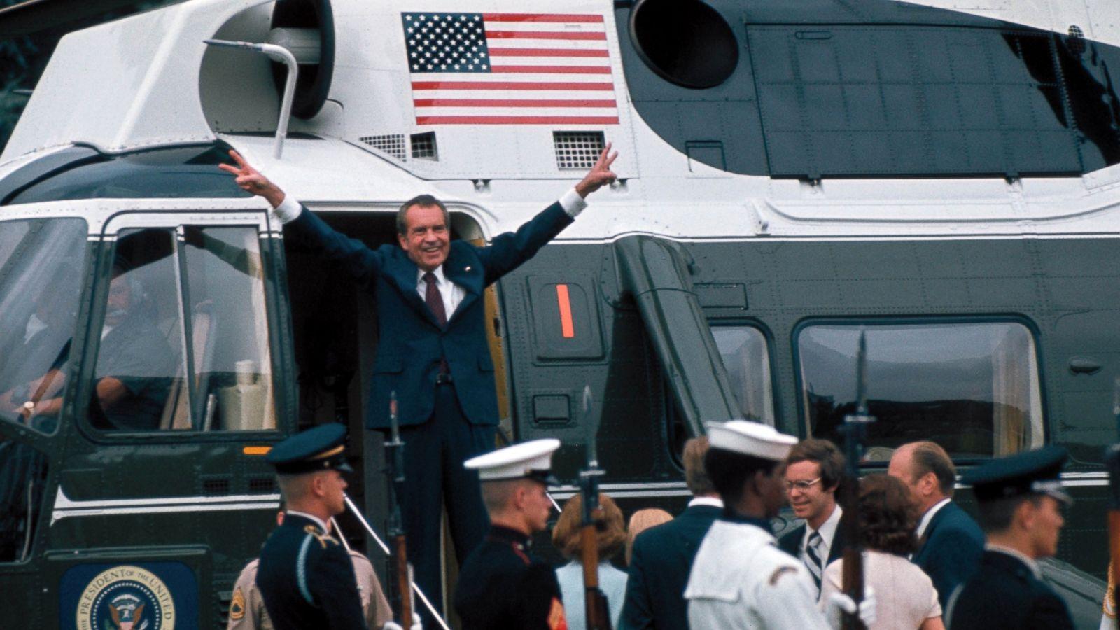 President Nixon gestures as he